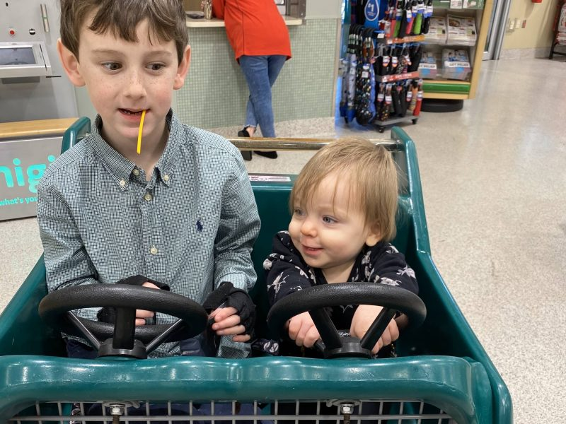 Two small children in a race car style shopping cart